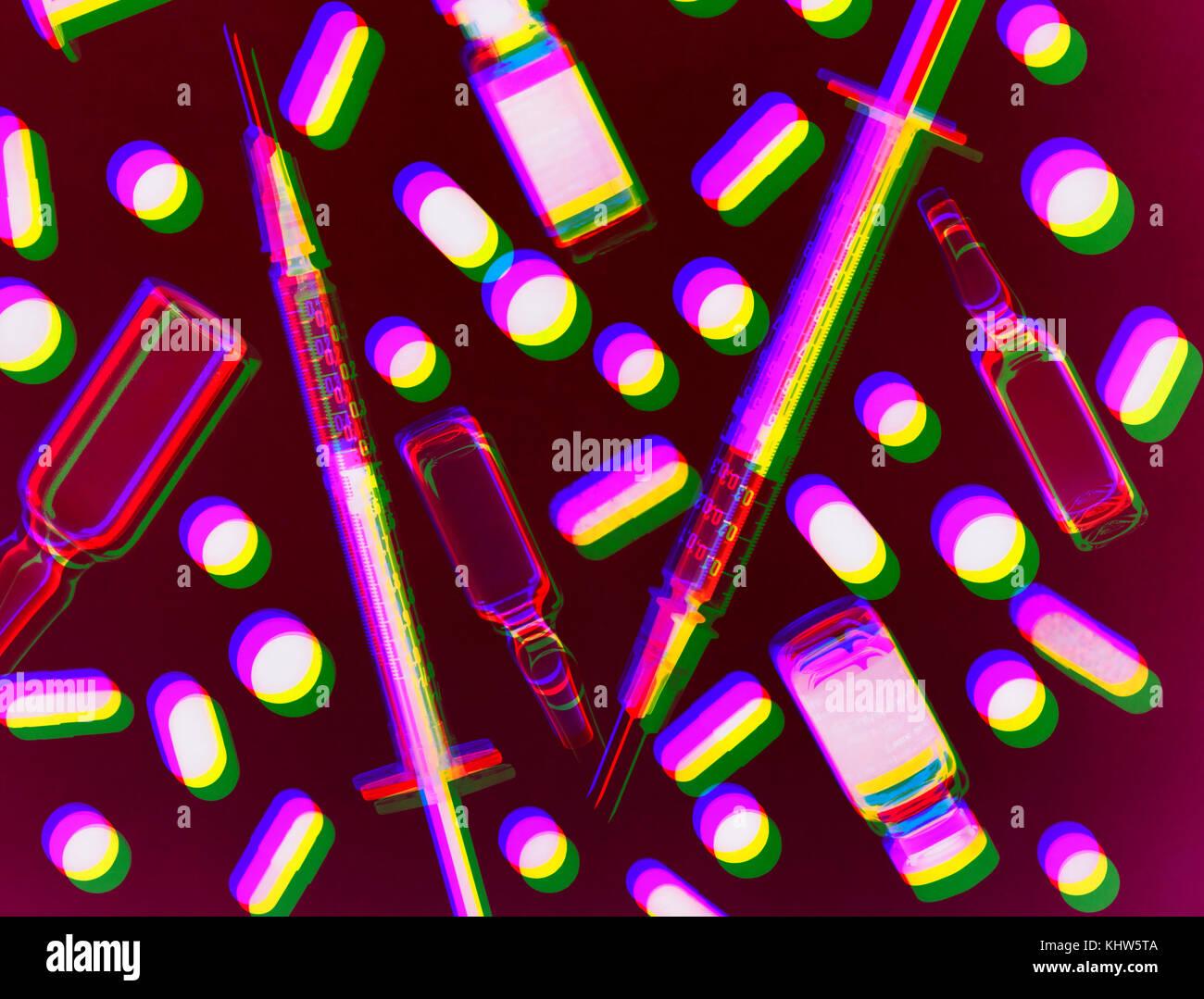 Exposición de varios fotogramas con variedad de medicamentos y ...