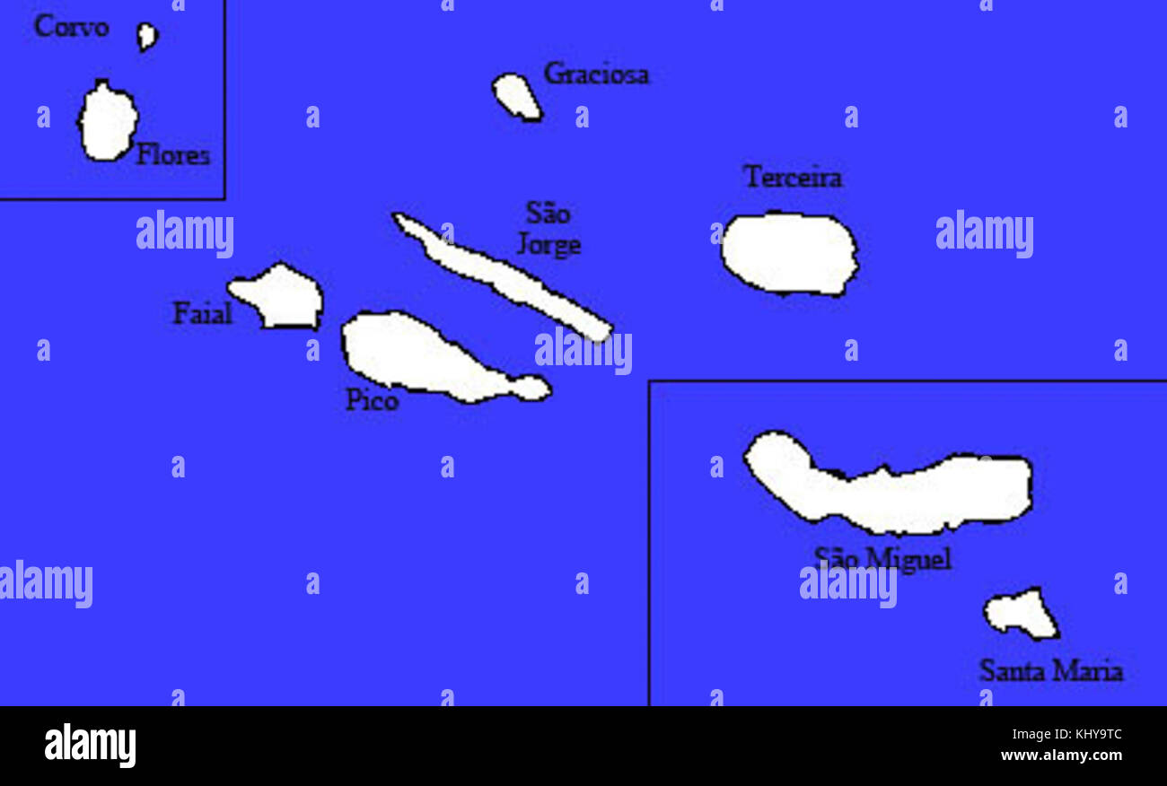 Mapa De Las Islas Azores Foto Imagen De Stock 165942908 Alamy