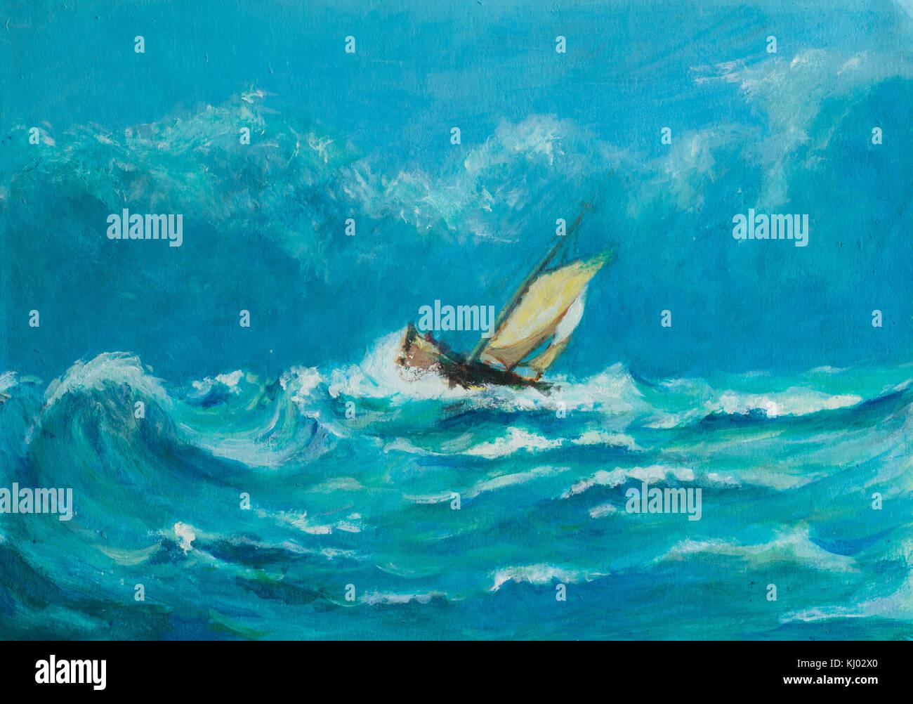 Pintura al óleo original de lonely pequeño velero luchando en una tormenta en el mar Foto de stock
