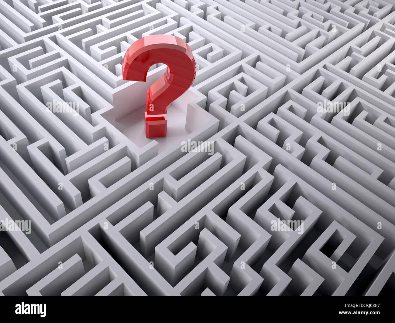 Signo de interrogación rojo dentro del laberinto laberinto, ilustración 3d Imagen De Stock
