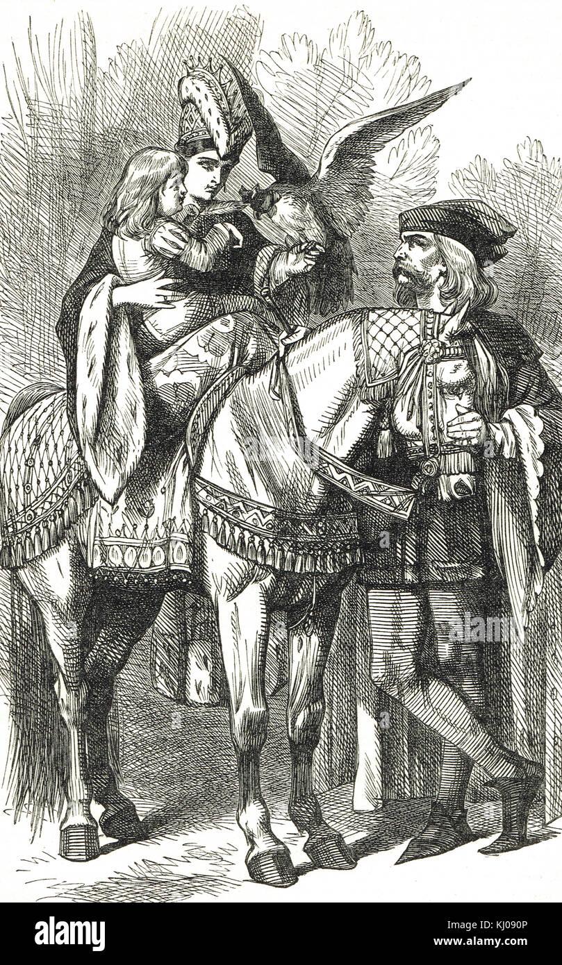Deportes de la época feudal, la cetrería Imagen De Stock