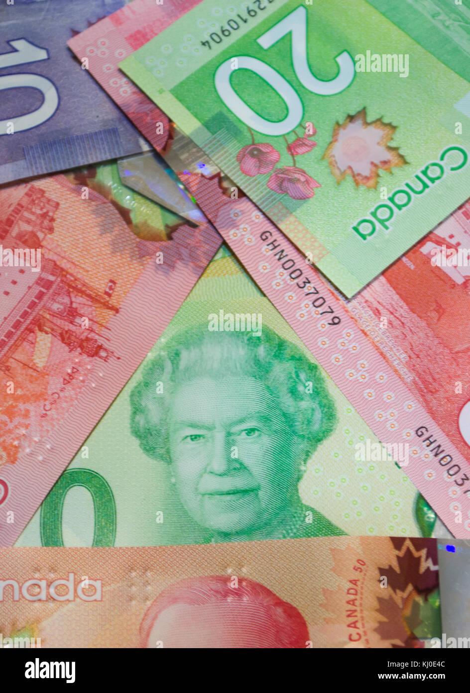 Dólares canadienses desorganizado foto vertical Foto de stock