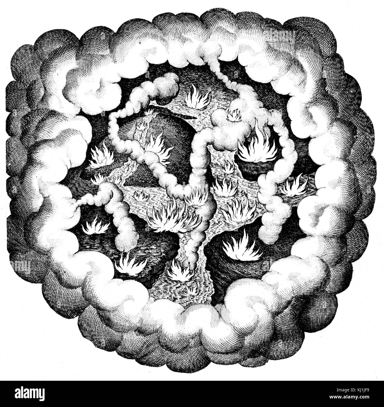 Grabado representando el Caos elemental, mostrando la lucha entre las cualidades (caliente y frío, húmedo Imagen De Stock