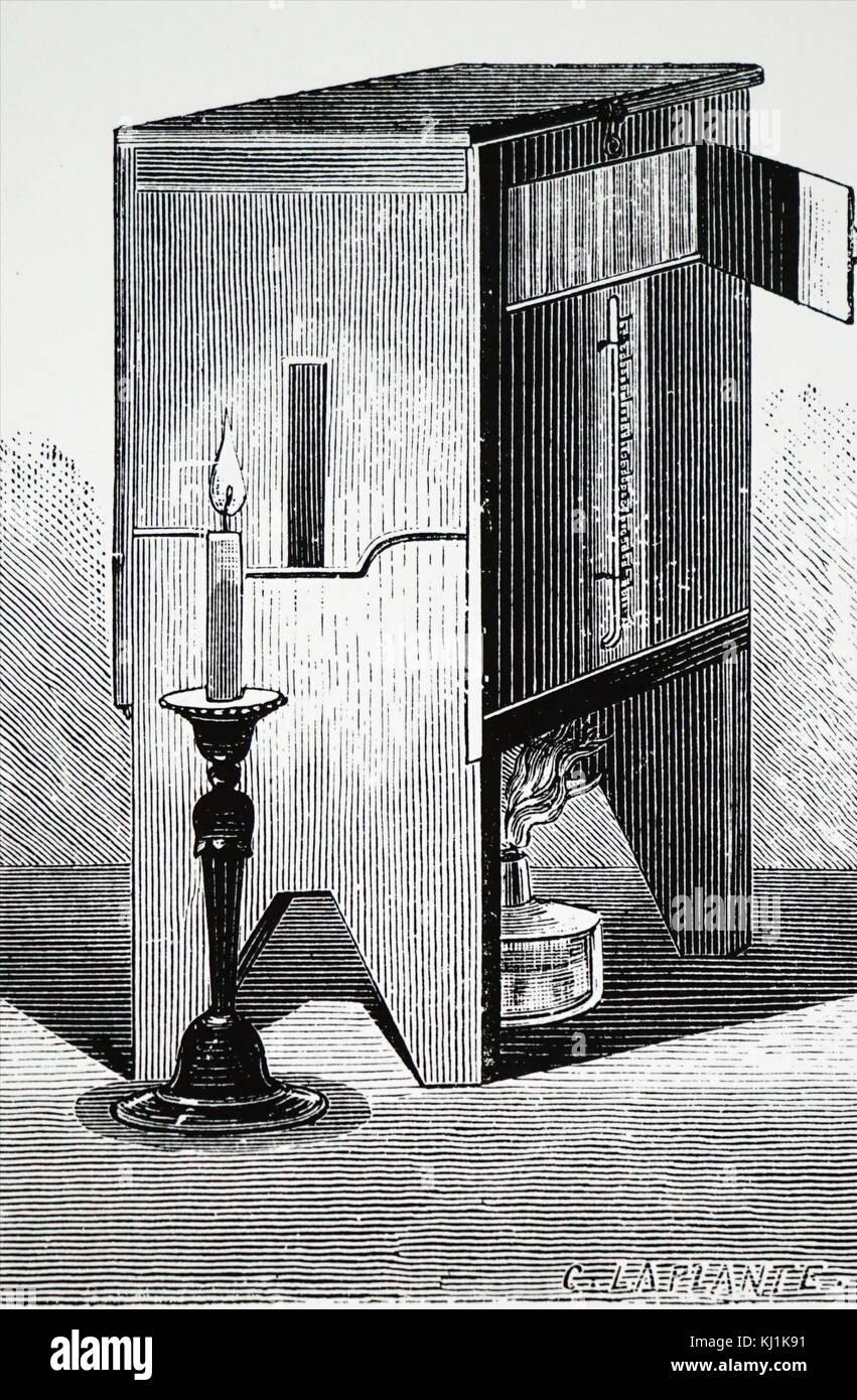 Grabado representando un cuadro de mercurio utilizado para desarrollar daguerrotipo fotografías inventado por Louis Daguerre. Louis Daguerre (1787-1851), un artista francés, inventor y fotógrafo. Fecha del siglo XIX Foto de stock
