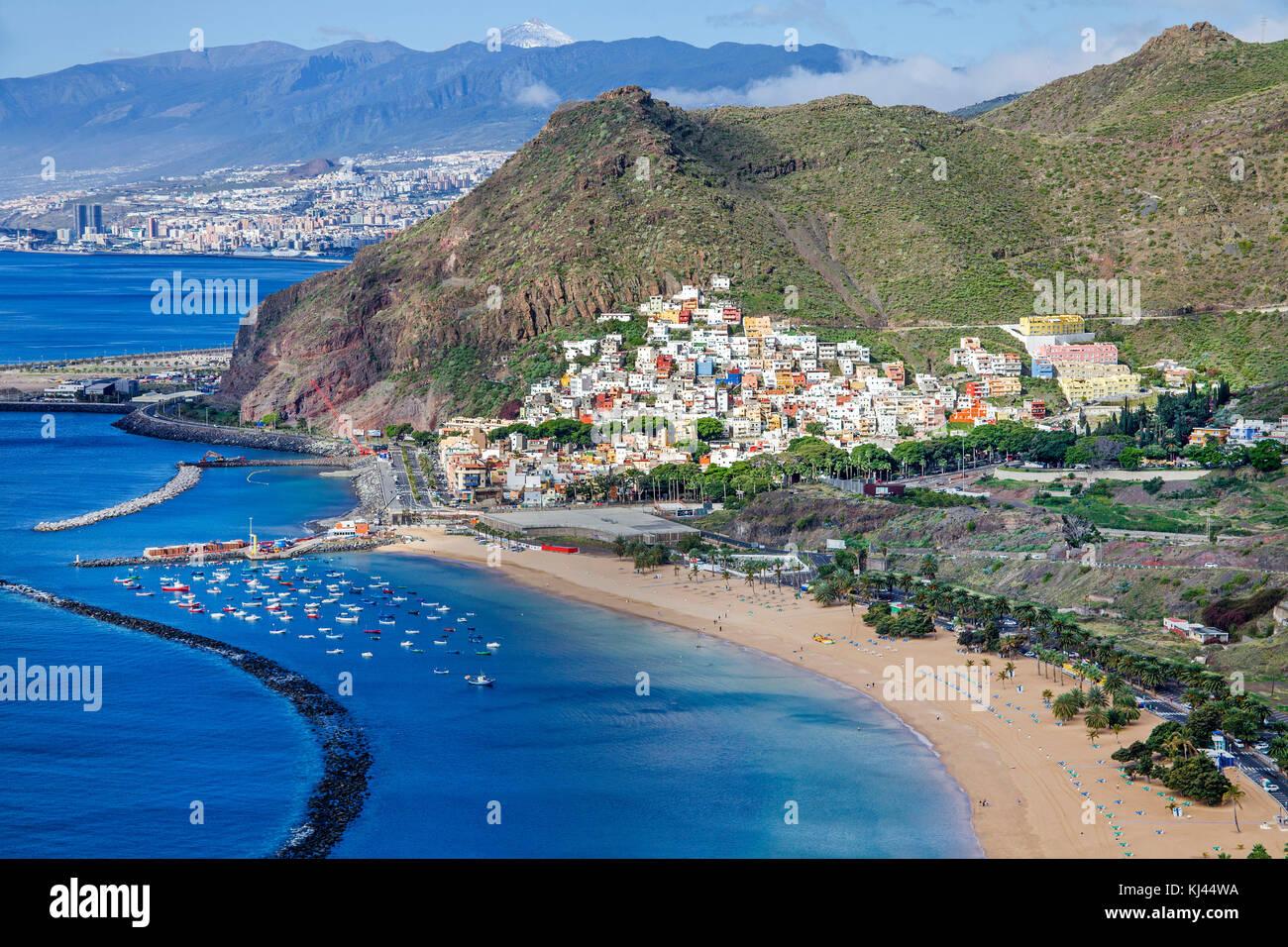 Playa de las Teresitas en el municipio de San Andrés, la playa más hermosa de la isla de Tenerife, Tenerife, Imagen De Stock
