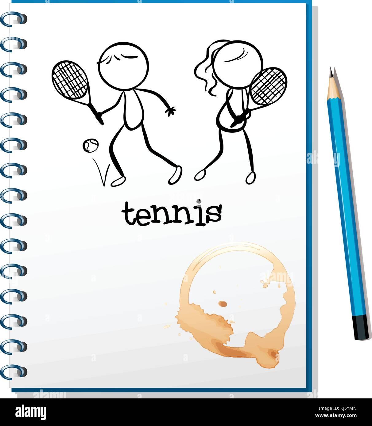 Ilustración de un portátil con un boceto de un niño y una niña ...