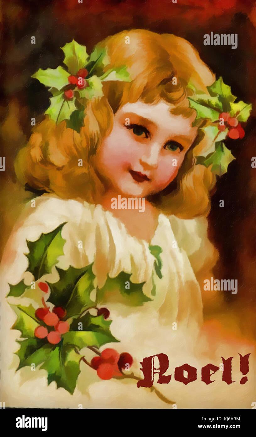 Acerca de tarjetas de Navidad 1890 Foto de stock