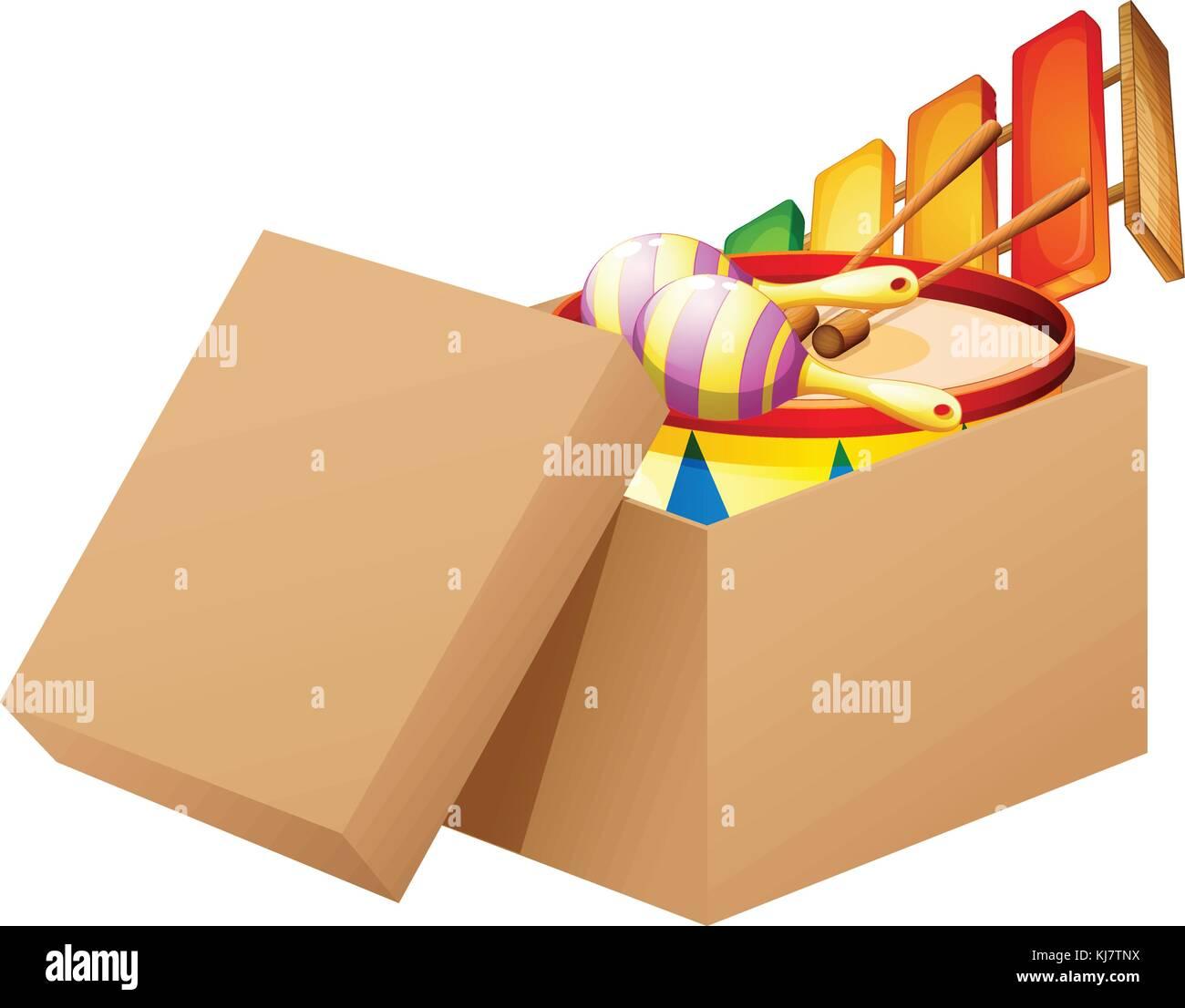 Ilustración de un cómic lleno de juguetes sobre un fondo blanco. Ilustración del Vector