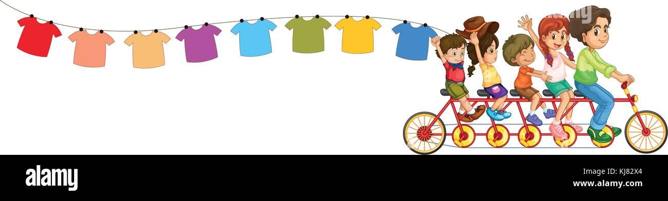 Ilustración de una bicicleta con los niños y las prendas colgadas sobre un fondo blanco. Ilustración del Vector