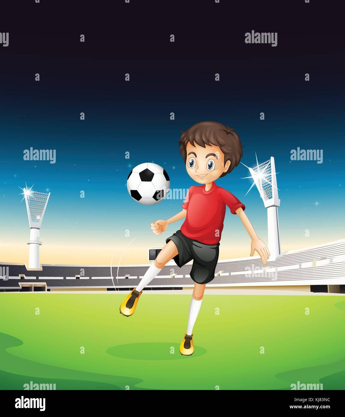 Ilustracion De Un Nino Jugando Futbol Solos Ilustracion Del Vector