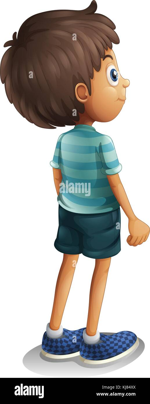 Ilustración de una vista posterior de un muchacho sobre un fondo blanco. Ilustración del Vector
