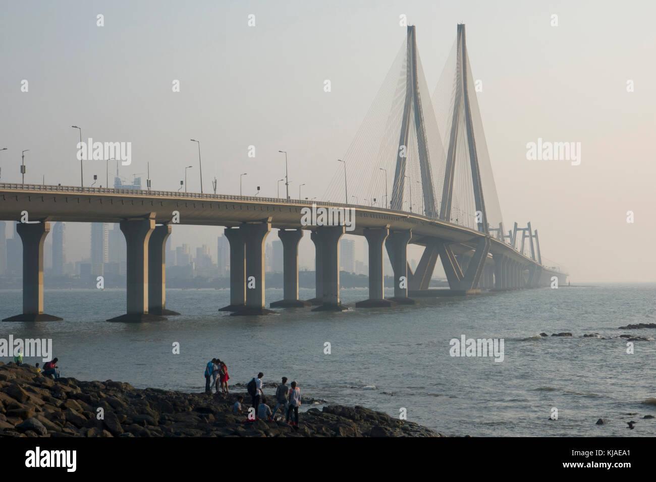 Rajiv Gandhi enlace marítimo puente entre bandra y worli, Mumbai Imagen De Stock