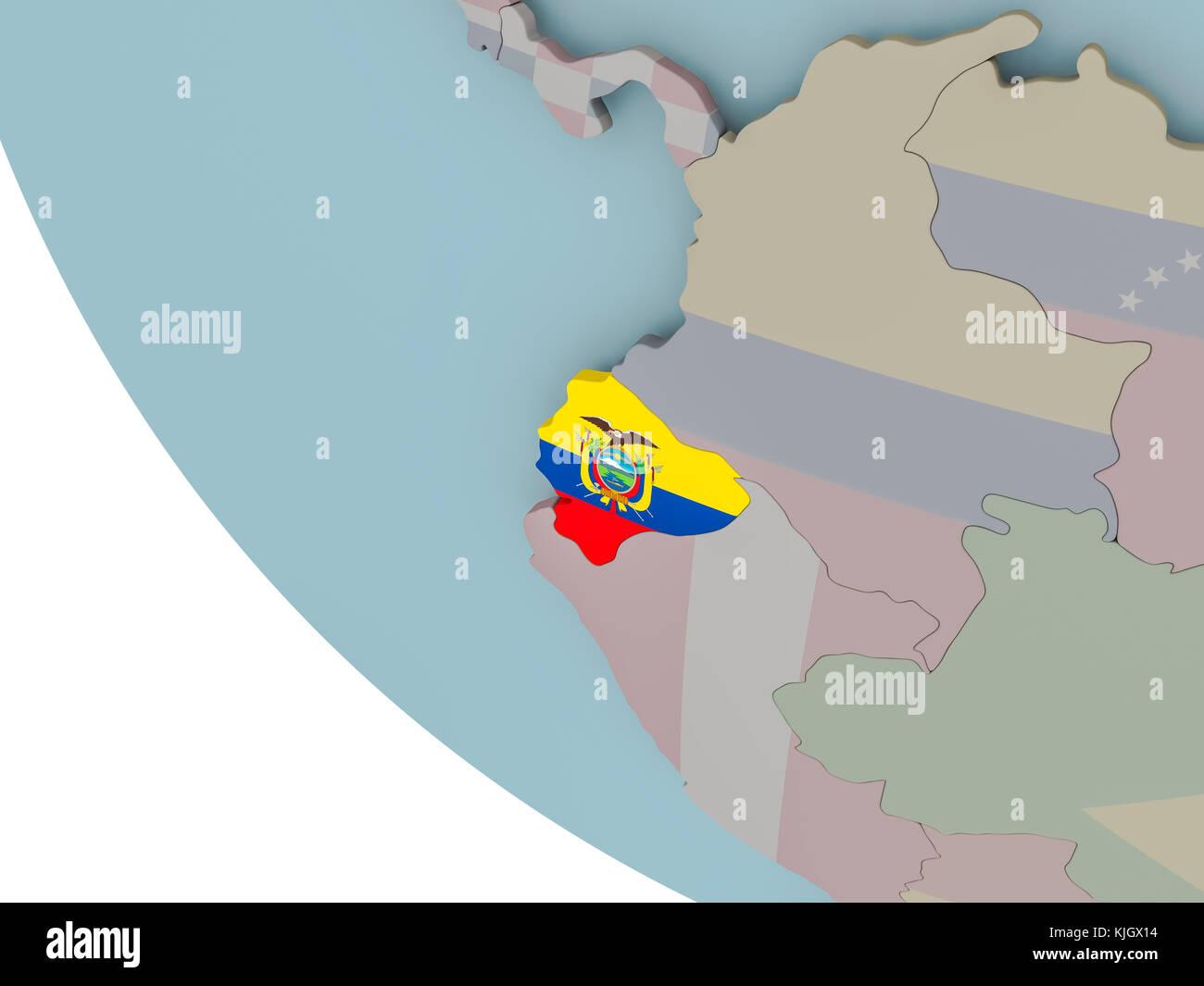 Ecuador Mapa Del Mundo.Mapa De Ecuador En El Mundo Politico Con Banderas Incrustadas Ilustracion 3d Fotografia De Stock Alamy