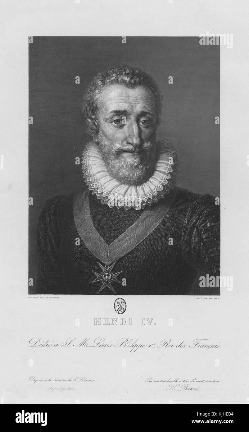 """Retrato grabado del rey Enrique IV de Francia, conocido como el """"buen rey Enrique"""", fue rey de Navarra (Enrique Foto de stock"""