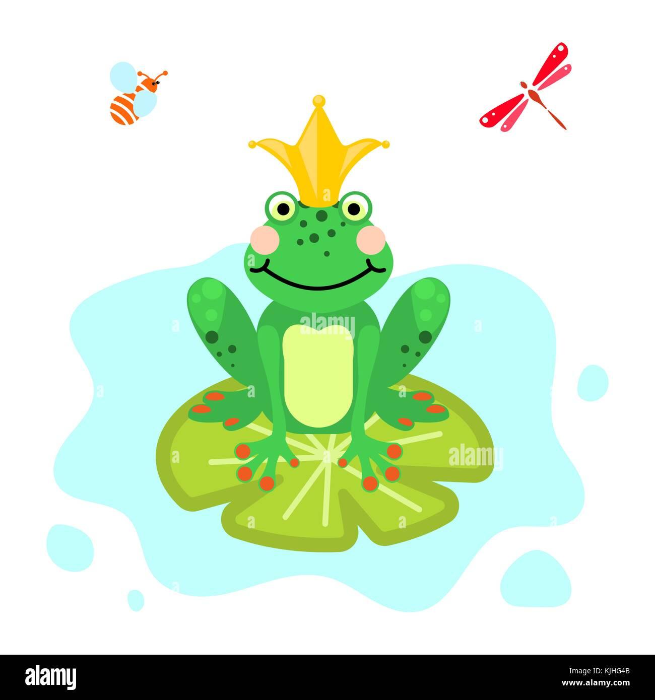 El príncipe rana verde cartoon clip-art vector aislados Ilustración ...