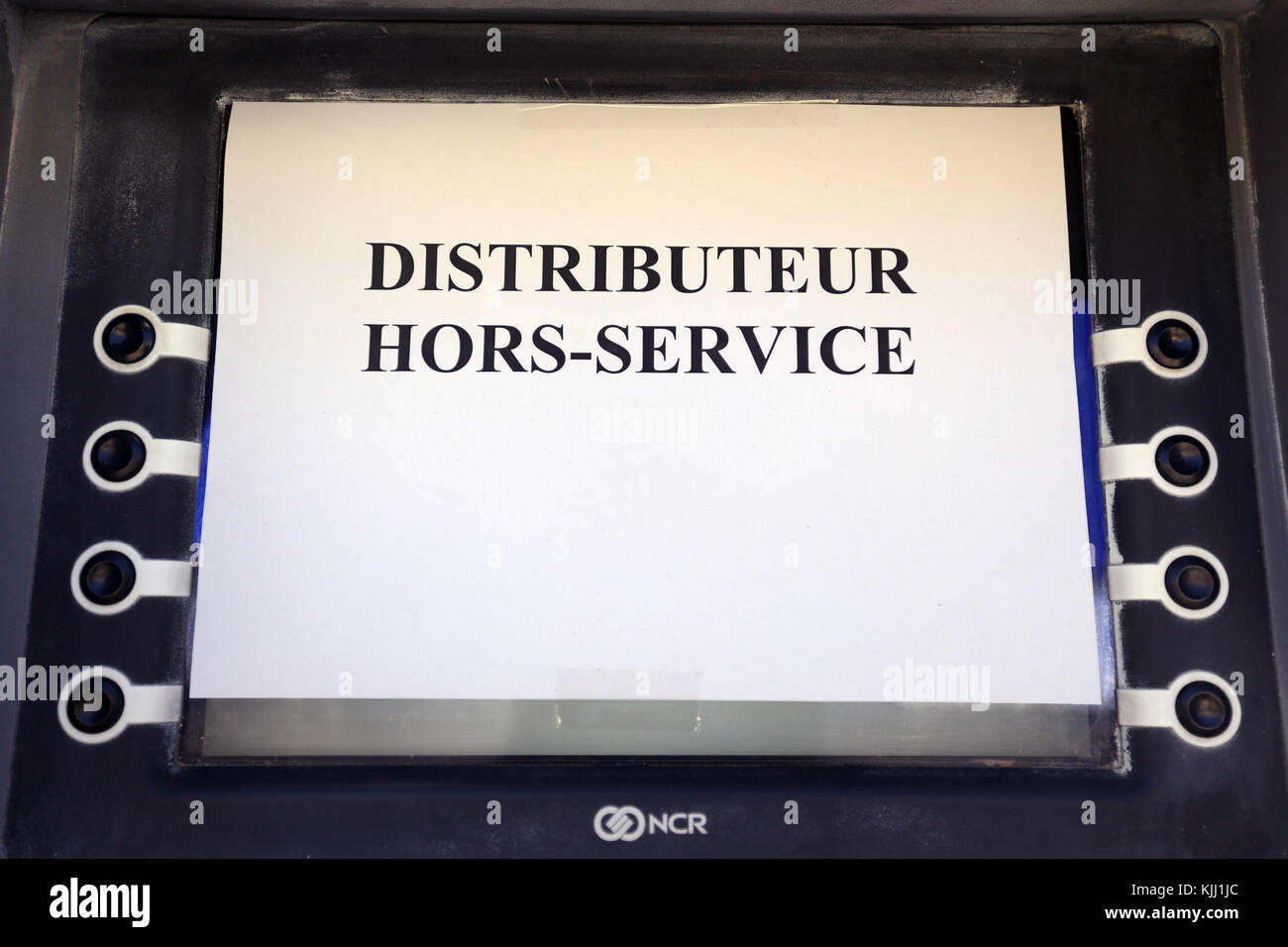 Cajero automático ATM rotos. Francia. Imagen De Stock