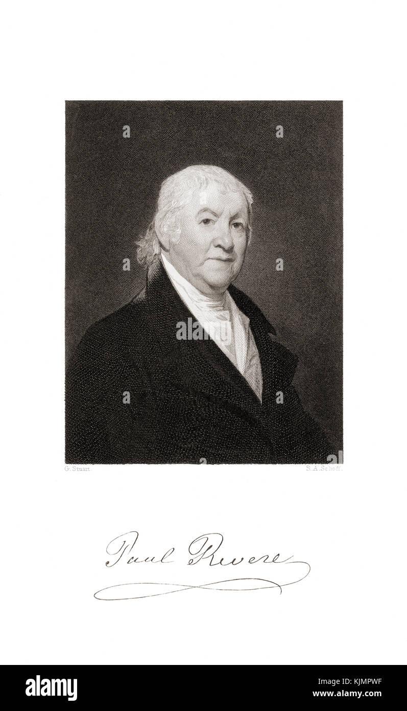 Paul Revere, 1734-1818. patriota en la revolución americana, famoso por su paseo en abril de 1775 para alertar Imagen De Stock