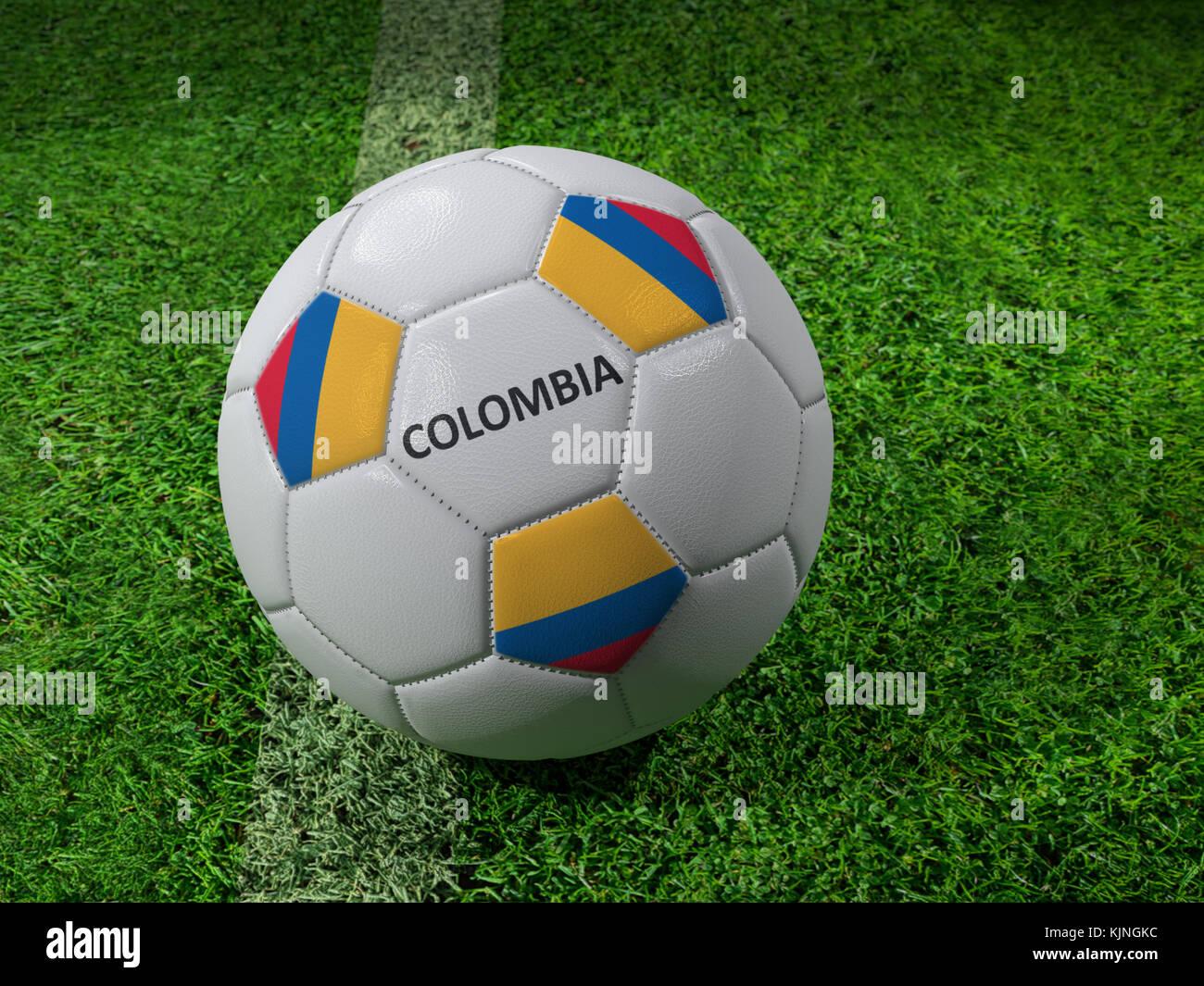 Representación 3D de la pelota de fútbol blanca impresa con los colores de  la bandera de 99954364047bc