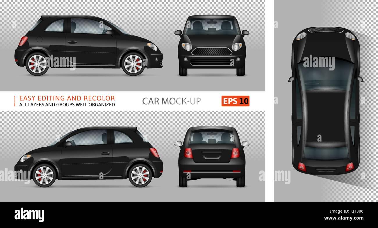 Mini coche vector mock-up para publicidad, identidad corporativa ...