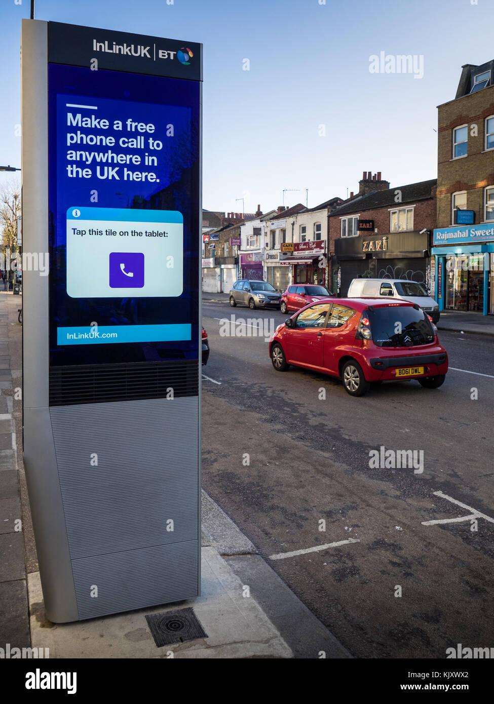 BT InLinkUK Kiosk - quioscos InLink ultrarrápido, ofrece conexión Wi-Fi gratuita, llamadas de teléfono, Imagen De Stock