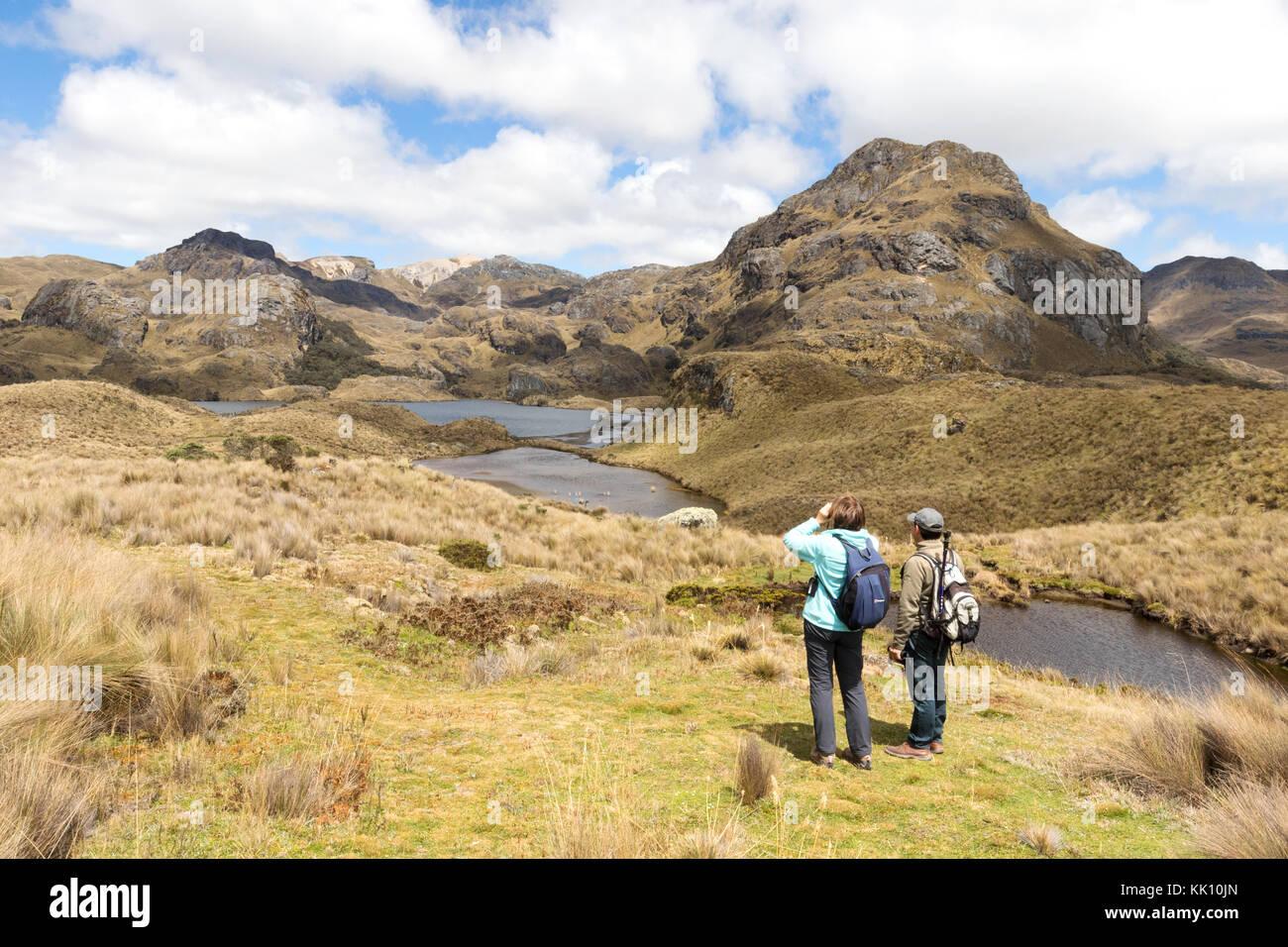 Parque Nacional El Cajas Ecuador - una guía de turismo y paseos en el parque nacional, Cuenca, Ecuador Sudamérica Imagen De Stock