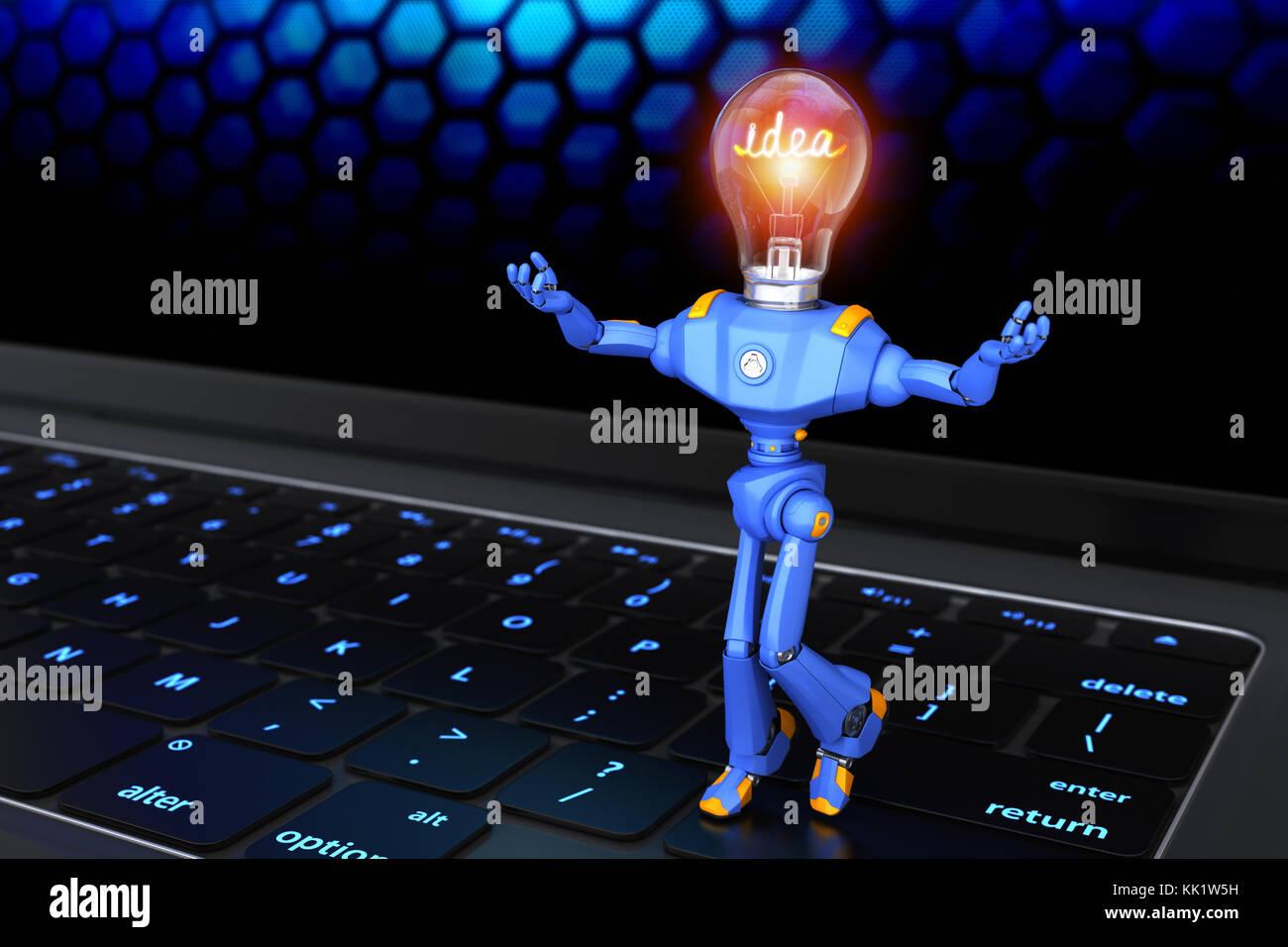 Pequeño robot de pie en el teclado. Ilustración 3d Imagen De Stock