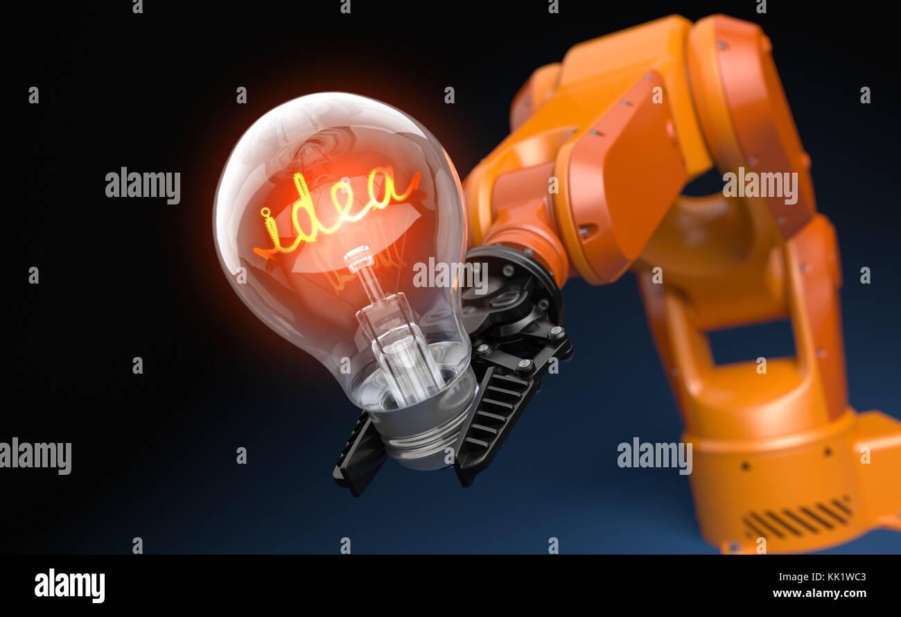 Brazo robot industrial sujetando la bombilla. Ilustración 3d Imagen De Stock