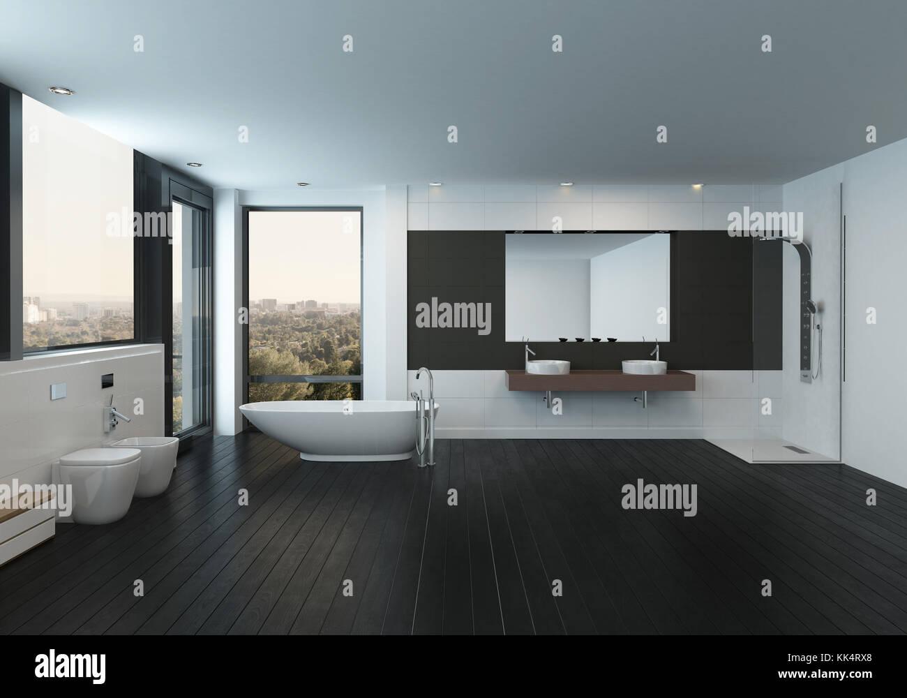Moderno y espacioso cuarto de baño blanco y negro interior con un ...