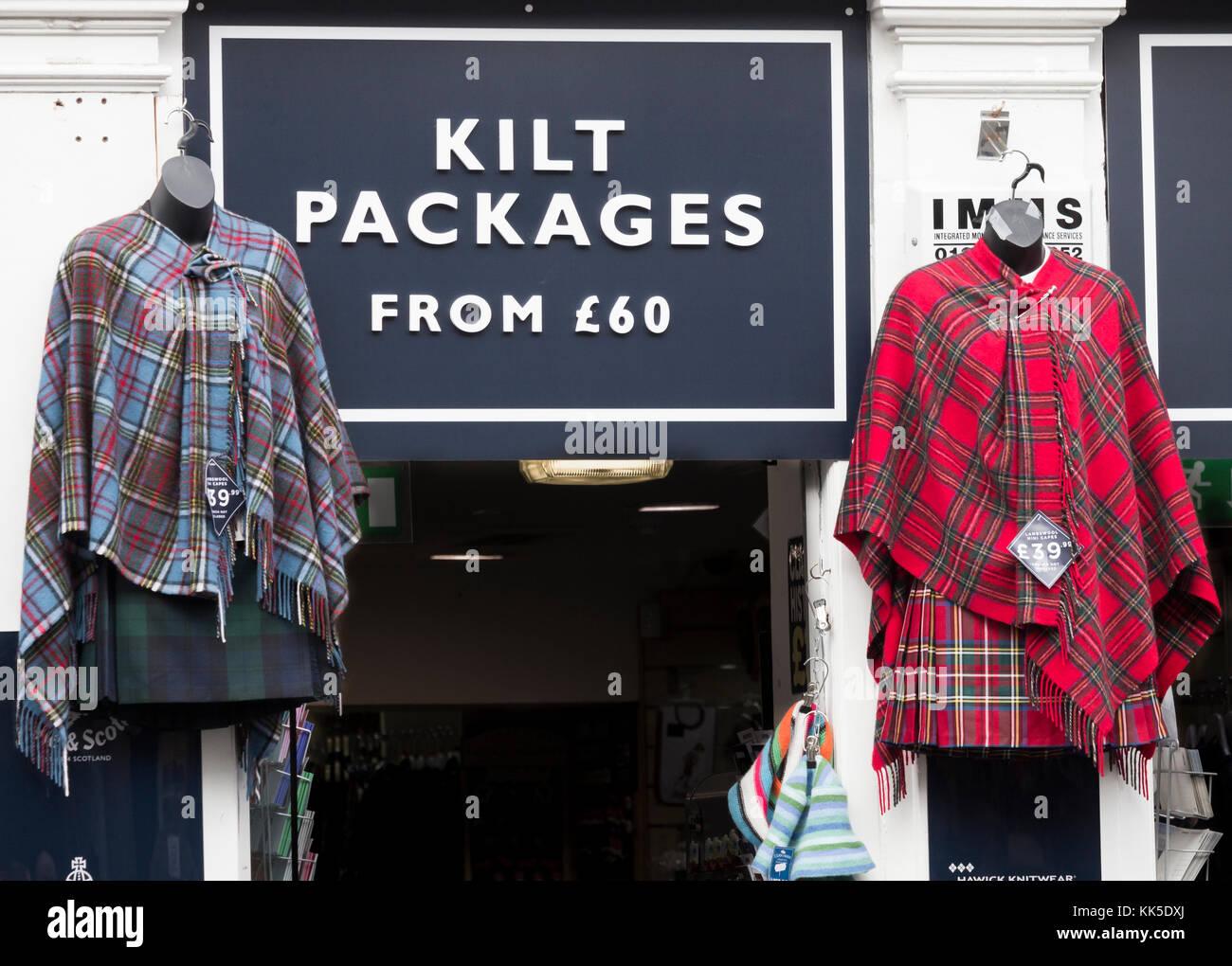 Falda shop en la Royal Mile de Edimburgo, Escocia, Reino Unido. Imagen De Stock