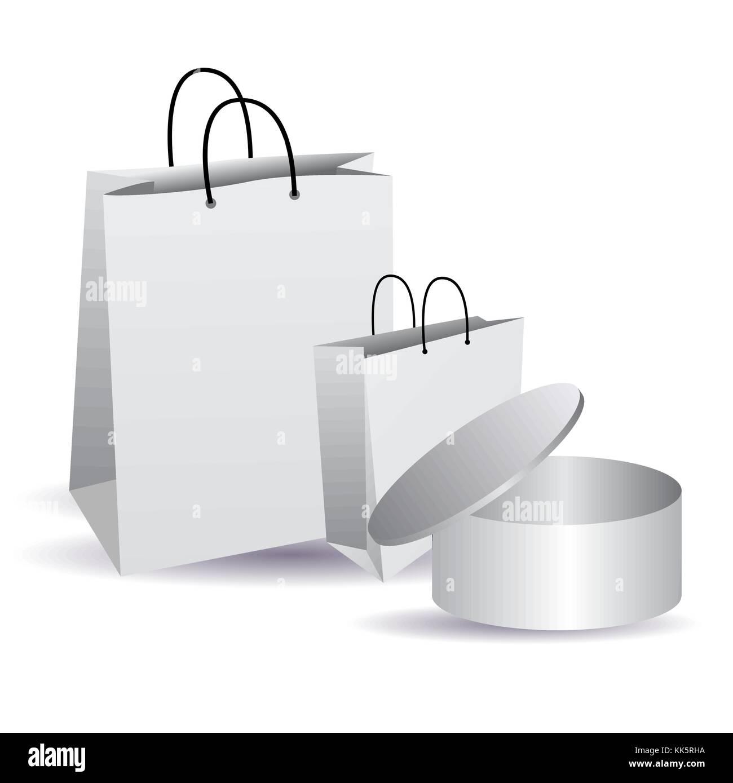 Sella la bolsa vacía. Blanco en blanco. caja cilíndrica con tapa ...