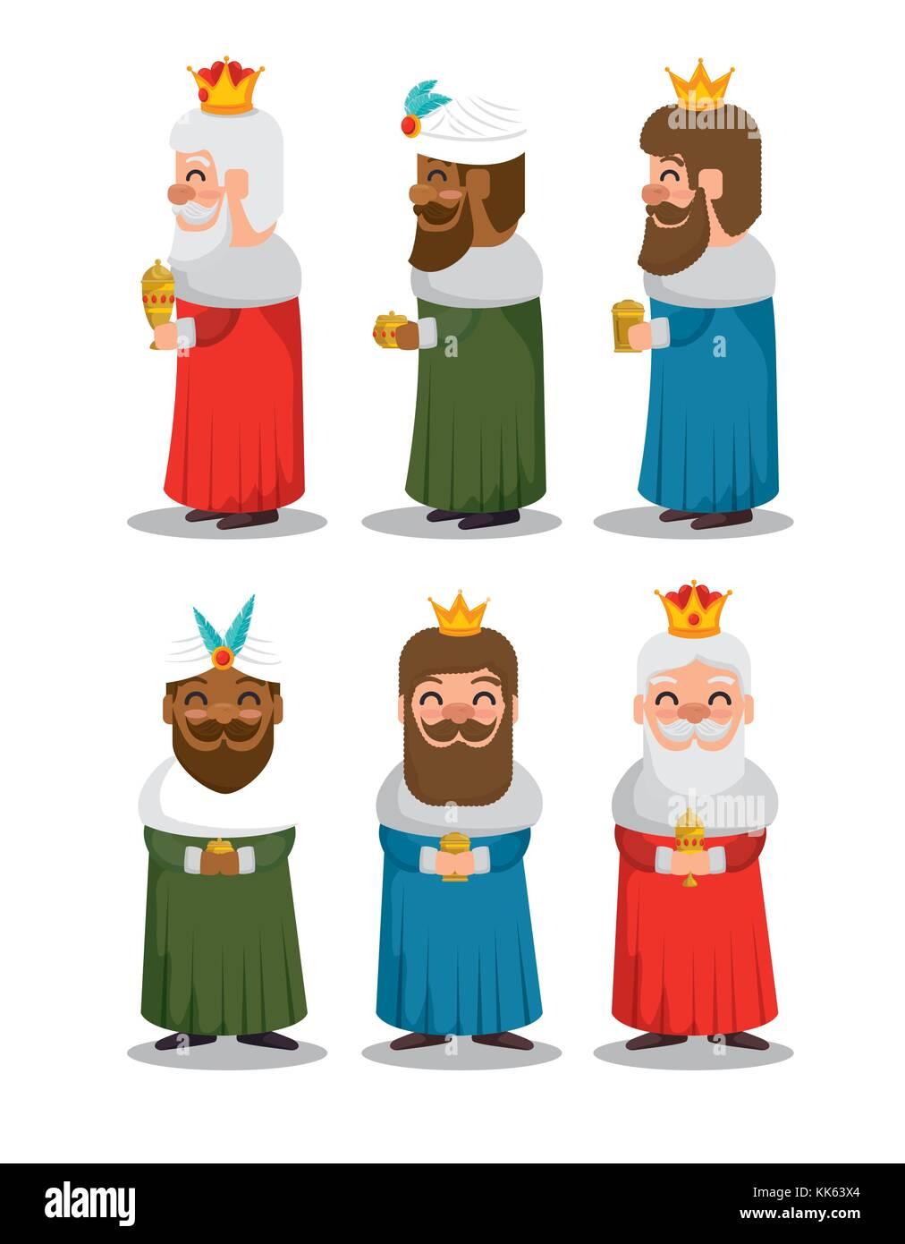 Los Reyes Magos De Oriente Dibujos Animados Ilustración Del Vector