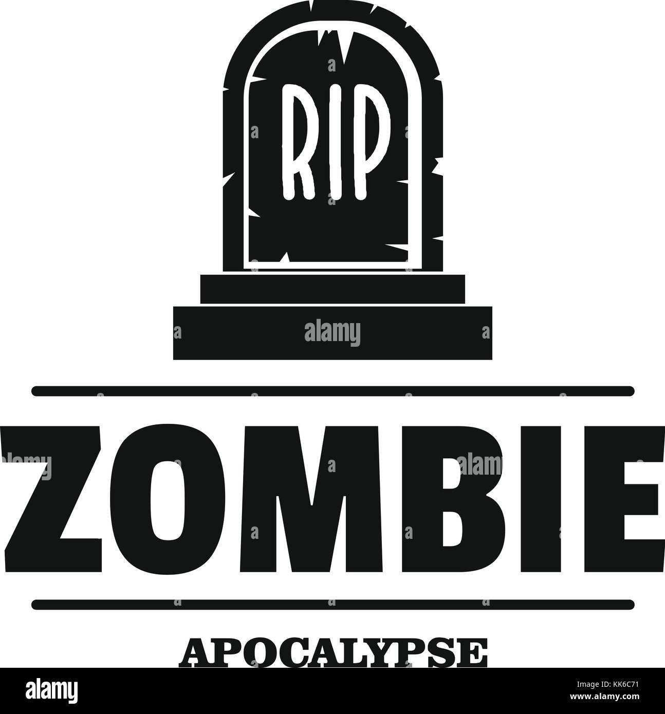 Zombie Death logo, estilo negro simple Ilustración del Vector