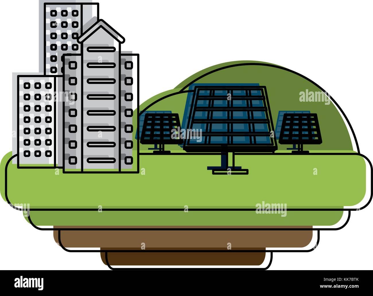 Edificios con paneles solares Imagen De Stock