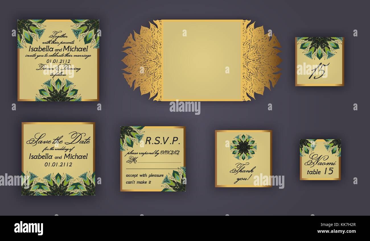 Invitación De Boda Vintage Set De Diseño Incluyen La Tarjeta