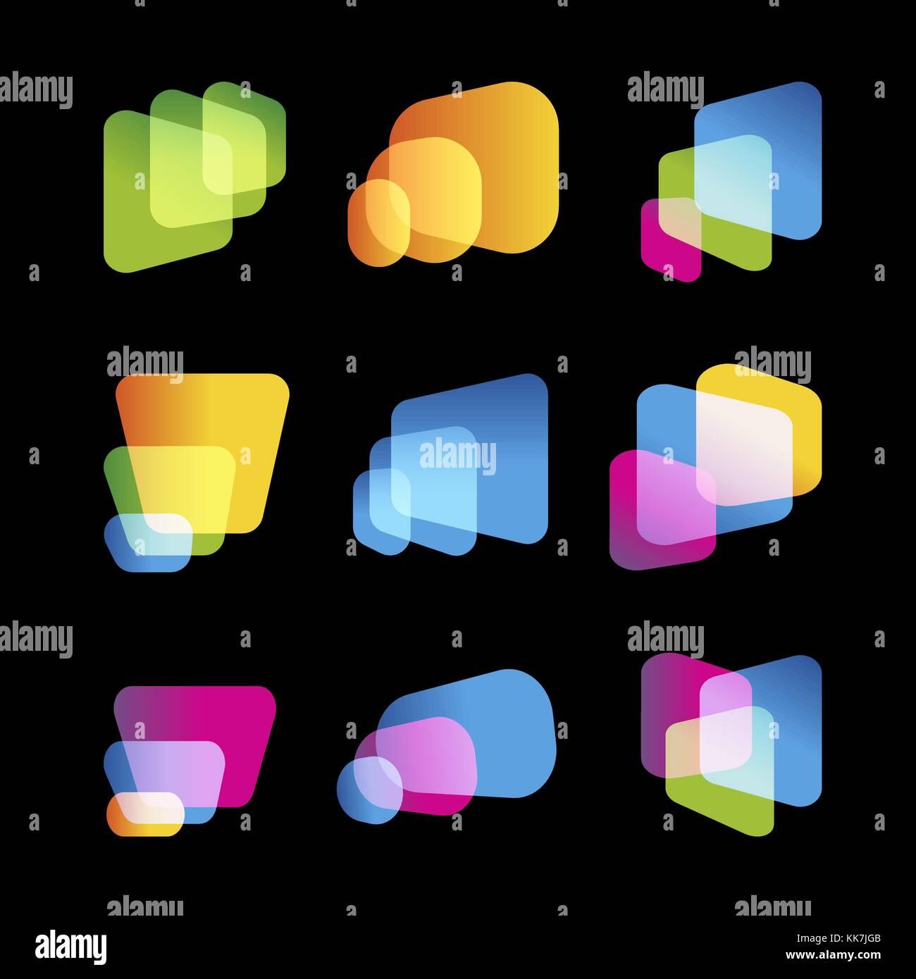 Pantalla digital de dispositivo móvil, brillante vector logo set ...