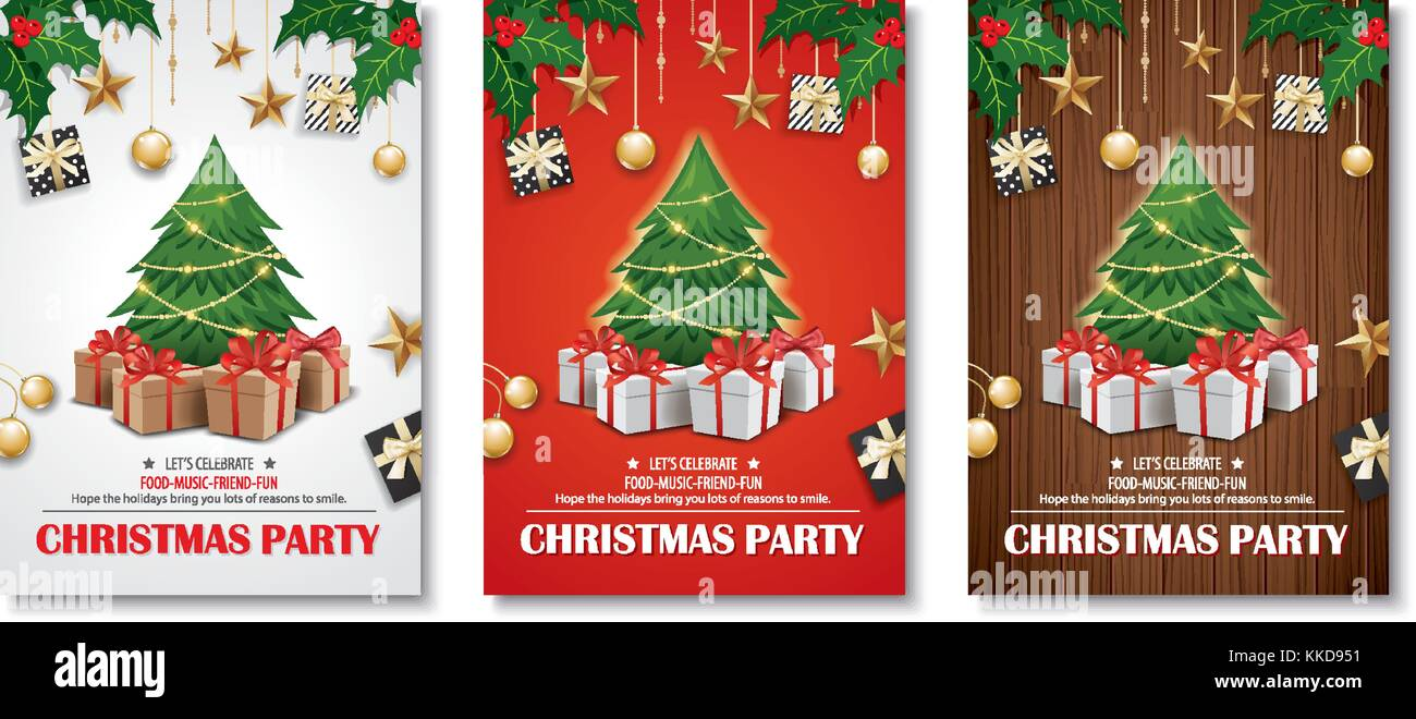 Invitación Feliz Navidad Parte Poster Banner Y Tarjeta De