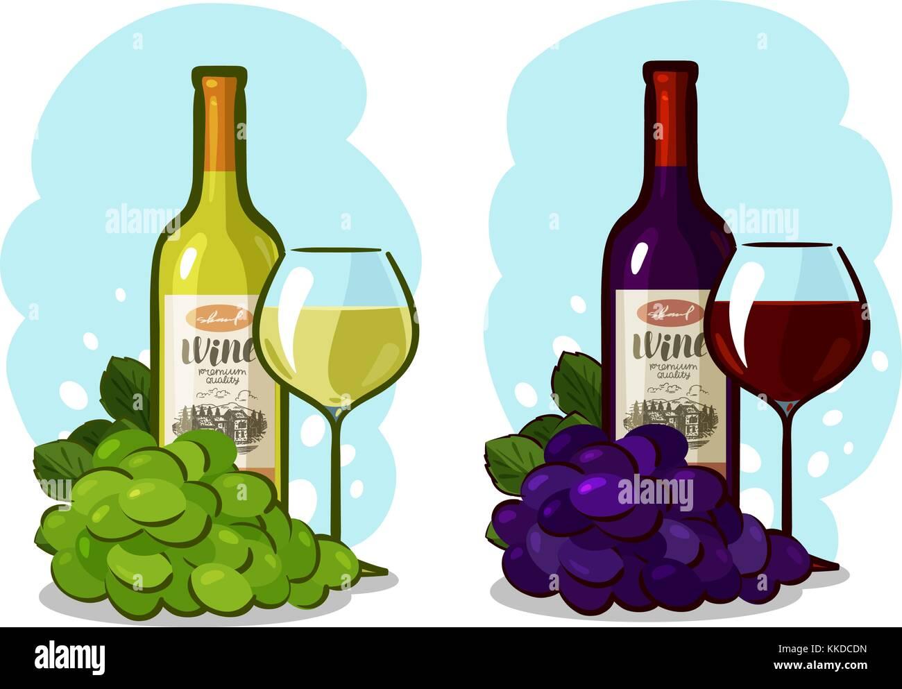 botella de vino tinto o blanco vidrio y uvas bodega concepto ilustraci n vectorial de dibujos. Black Bedroom Furniture Sets. Home Design Ideas