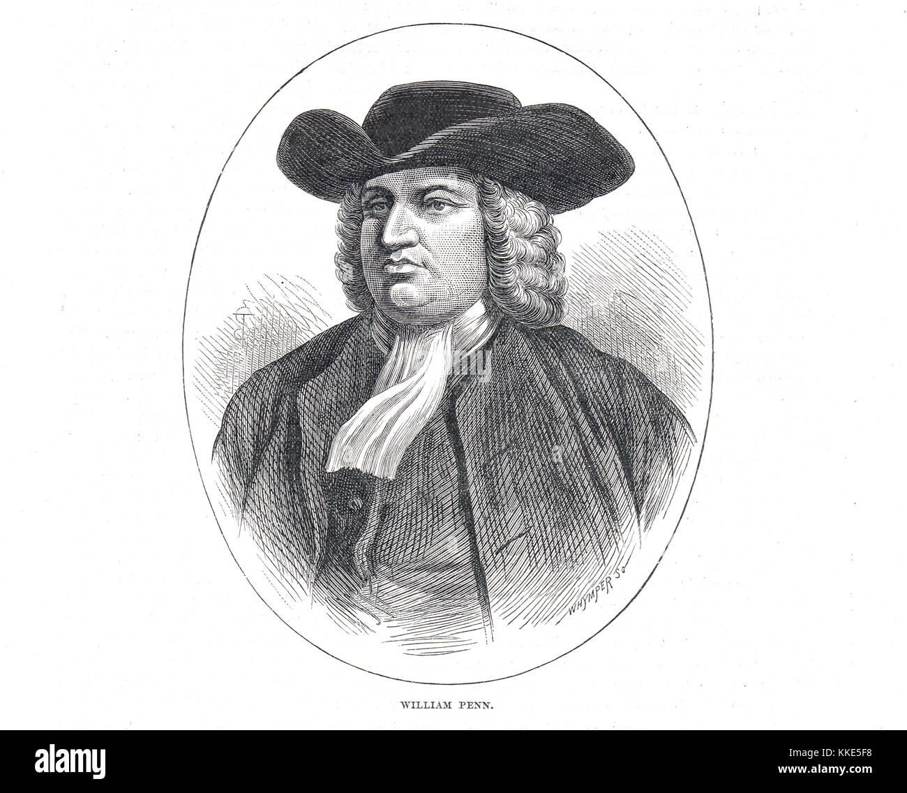 William Penn, fundador del estado de Pennsylvania Foto de stock