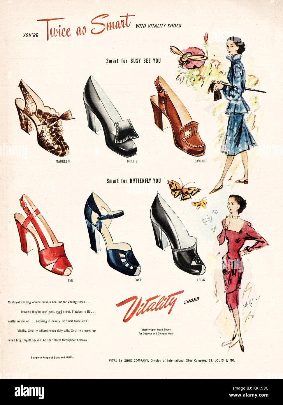 96c9a1bf 1947 EE.UU. la revista vitalidad zapatos Anuncio de la empresa Foto ...