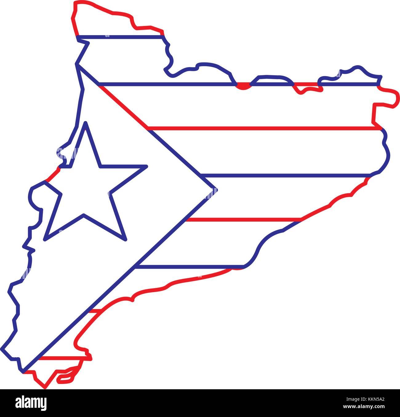 Mapa de Cataluña el patriotismo y la bandera de la independencia Imagen De Stock