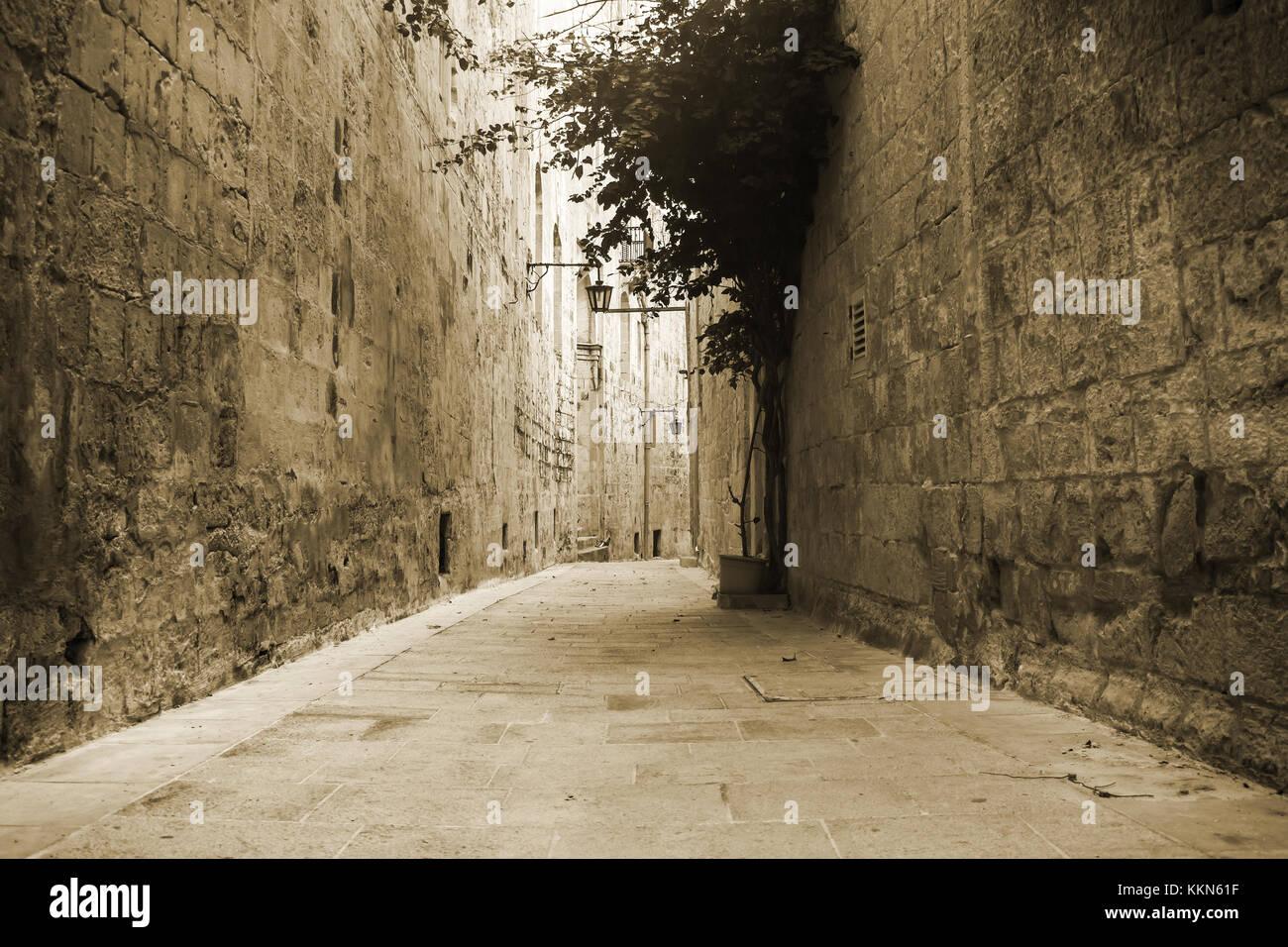 Antigua calle angosta en Mdina Malta en sepia. Imagen De Stock