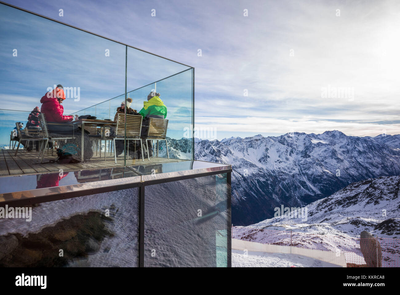 Austria, Tirol, otztal, solden, esquí de montaña, gaislachkogl gaislachkogl cumbre, altitud 3058 metros, Imagen De Stock