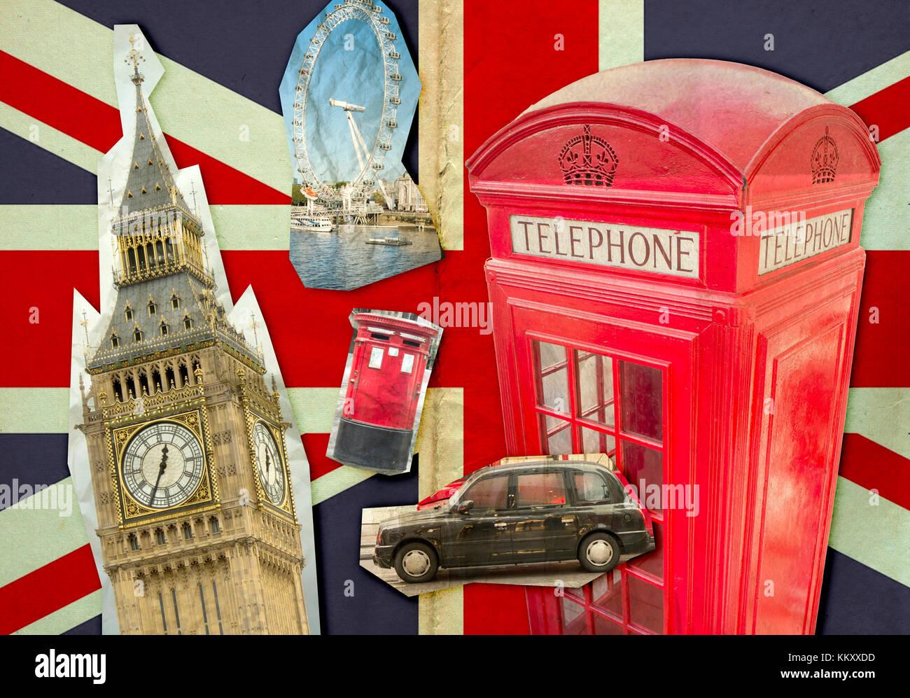 Collage de big ben el london eye la cabina de tel fono for La cabina di zio ben