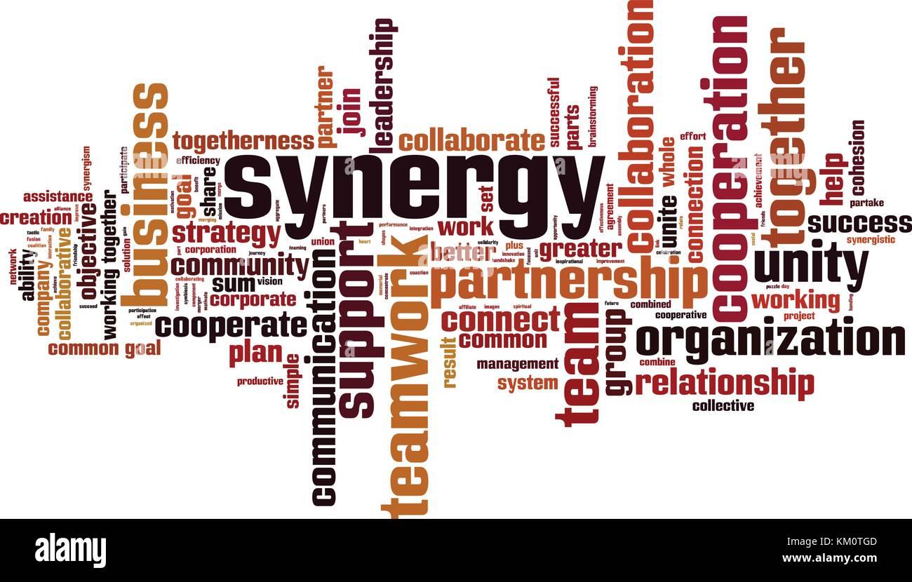 Sinergia palabra nube concepto. Ilustración vectorial Imagen De Stock