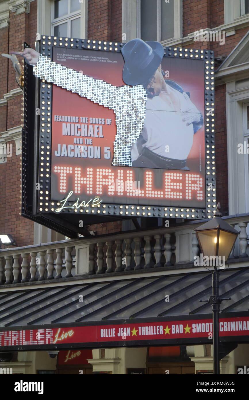 El thriller de Michael Jackson en el teatro lírico en Shaftesbury Avenue, en el West End de Londres Imagen De Stock