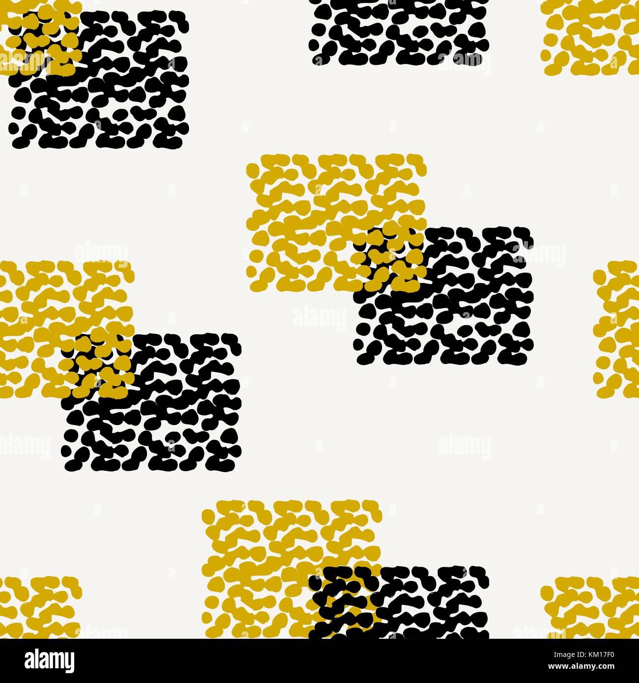 Dibujados a mano patrón abstracto sin costuras en negro, crema y ...