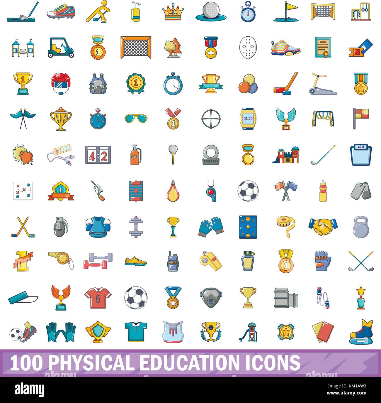 100 La Educación Física El Conjunto De Iconos De Estilo De Dibujos