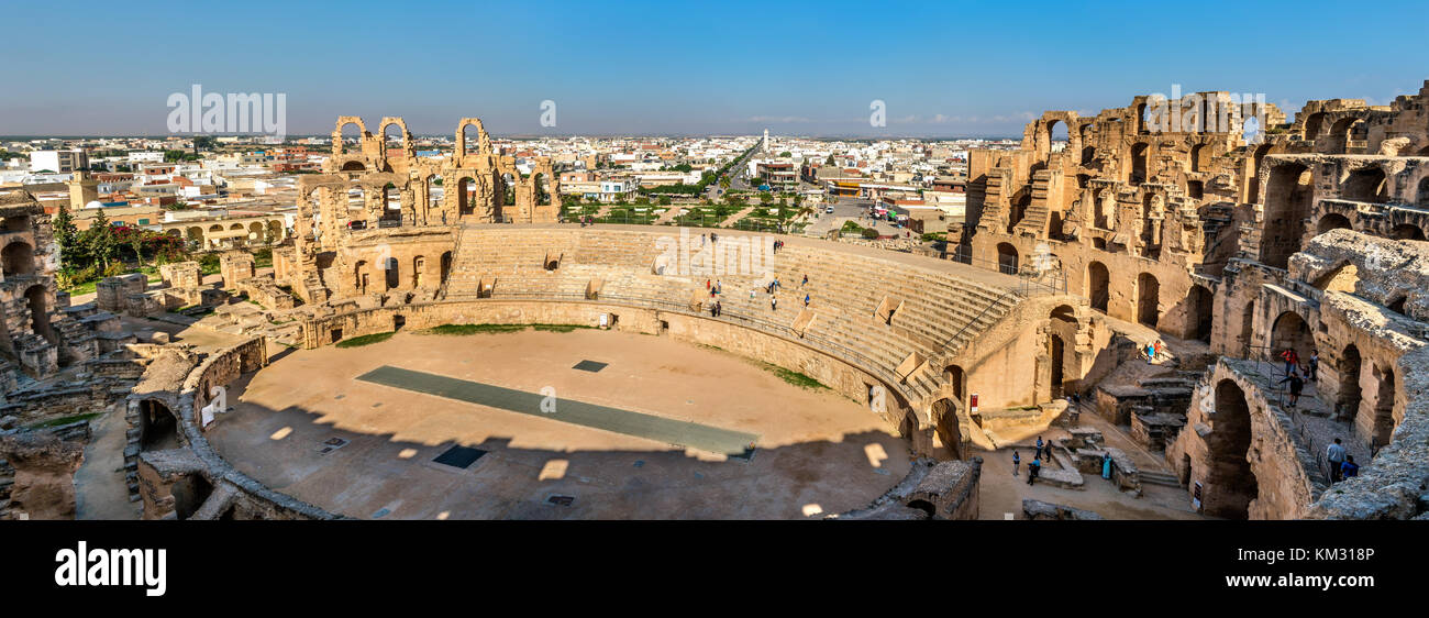 Anfiteatro de el JEM, un sitio del patrimonio mundial de la UNESCO en Túnez Imagen De Stock