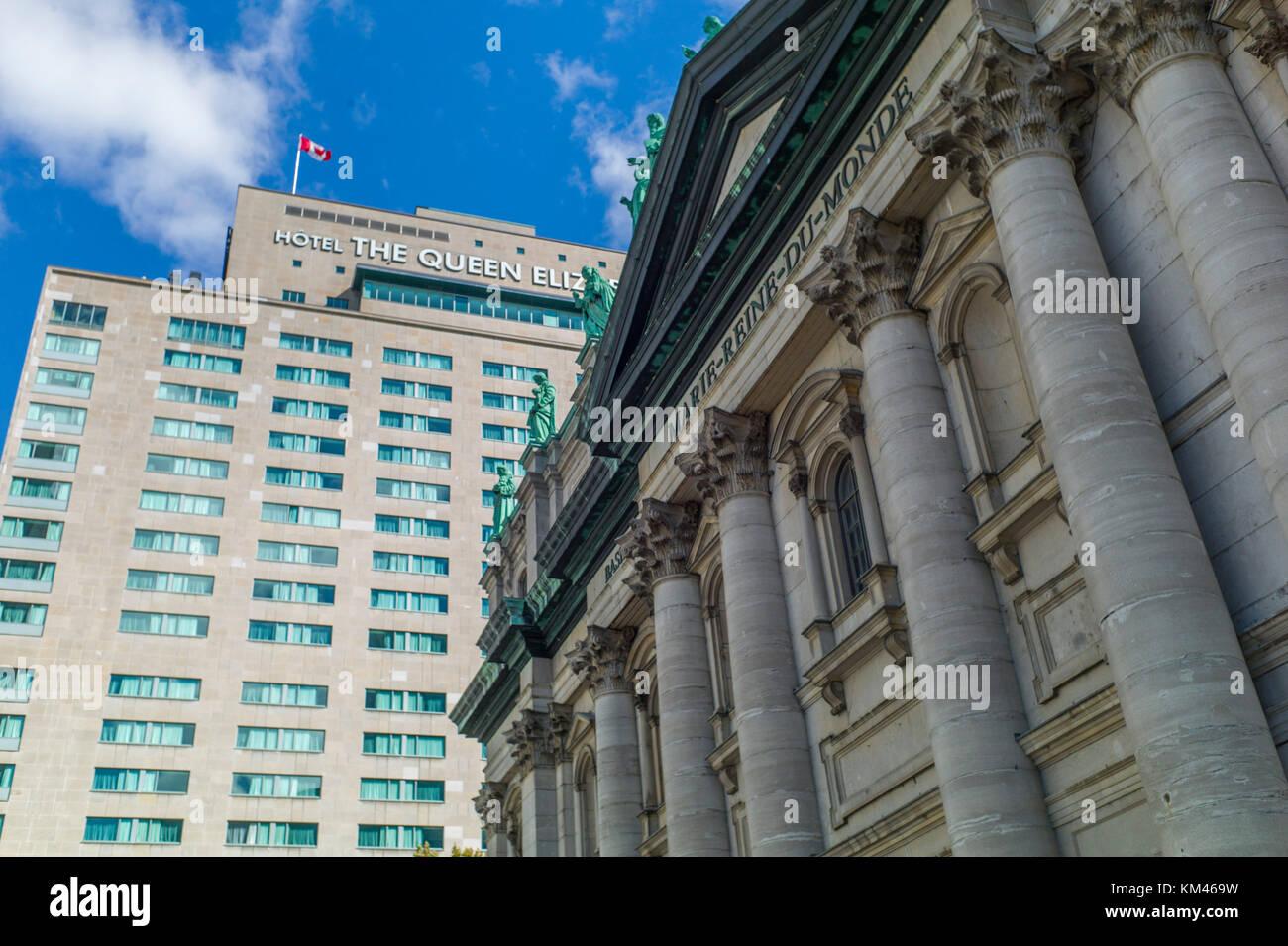 Montreal, Quebec, Canadá opiniones generales. el hotel Reina Isabel (en francés: le reine élizabeth; Imagen De Stock