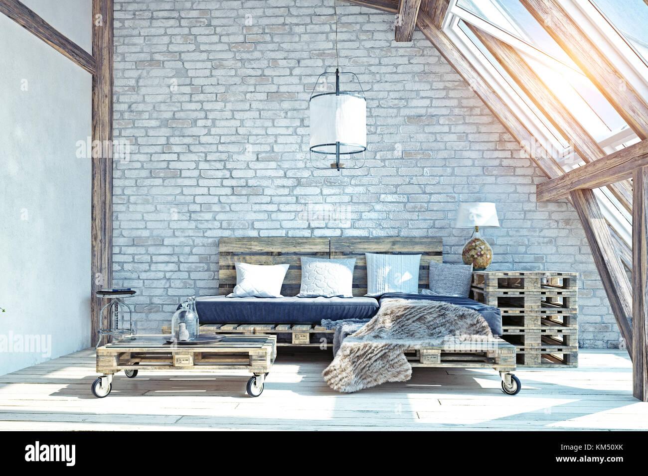 Buhardilla Sal N Interior Muebles De Palets 3d Ilustraci N Foto  # Muebles Buardilla